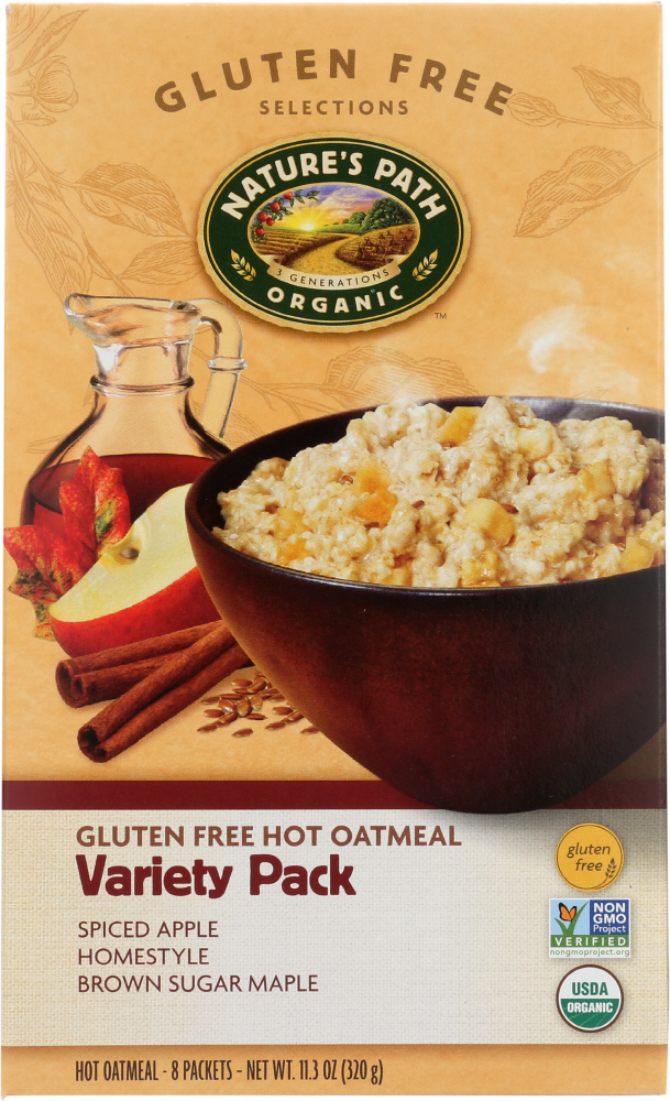 NATURE'S PATH: Organic Gluten Free Variety Pack Hot Oatmeal 8 Packets, 11.3 oz