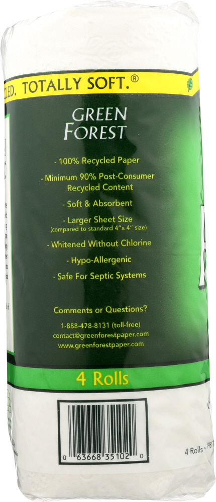 GREEN FOREST: Bath Tissue White 4 Rolls 198 Sheets, 1 ea
