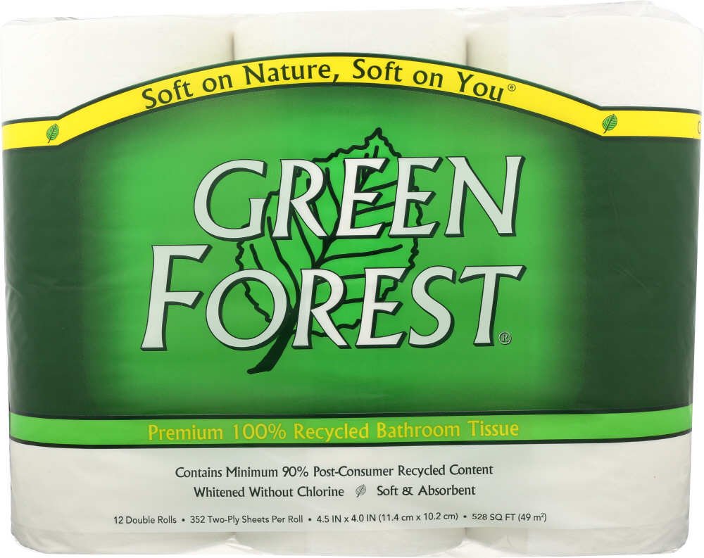 GREEN FOREST: Bath Tissue White 12 Double Ply Rolls 352 Sheets, 1 ea