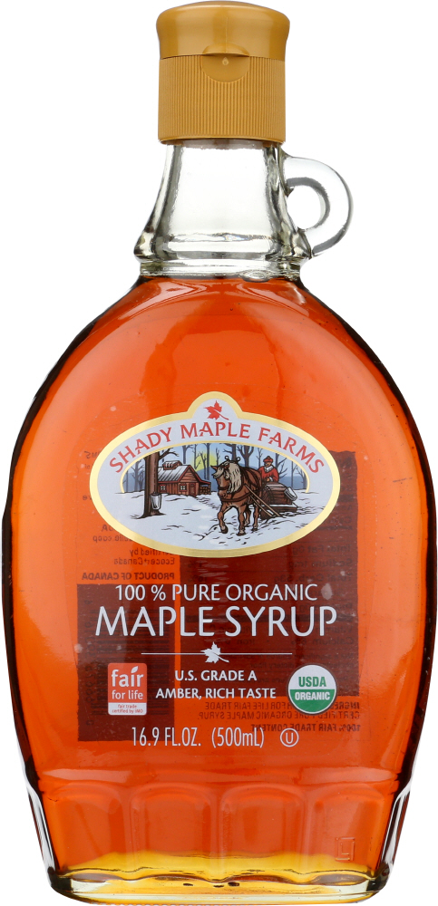 SHADY MAPLE FARMS: Organic Grade A Dark Amber Maple Syrup, 16.9 Oz
