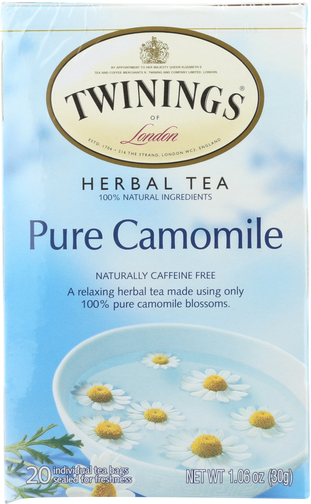 TWININGS OF LONDON: Herbal Tea Pure Camomile Caffeine Free, 20 Tea Bags, 1.06 Oz