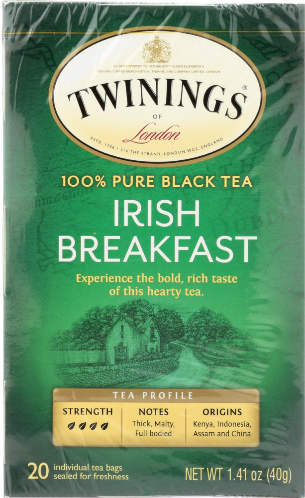 TWINING TEA: Classics Irish Breakfast Tea, 20 Tea Bags, 1.41 oz