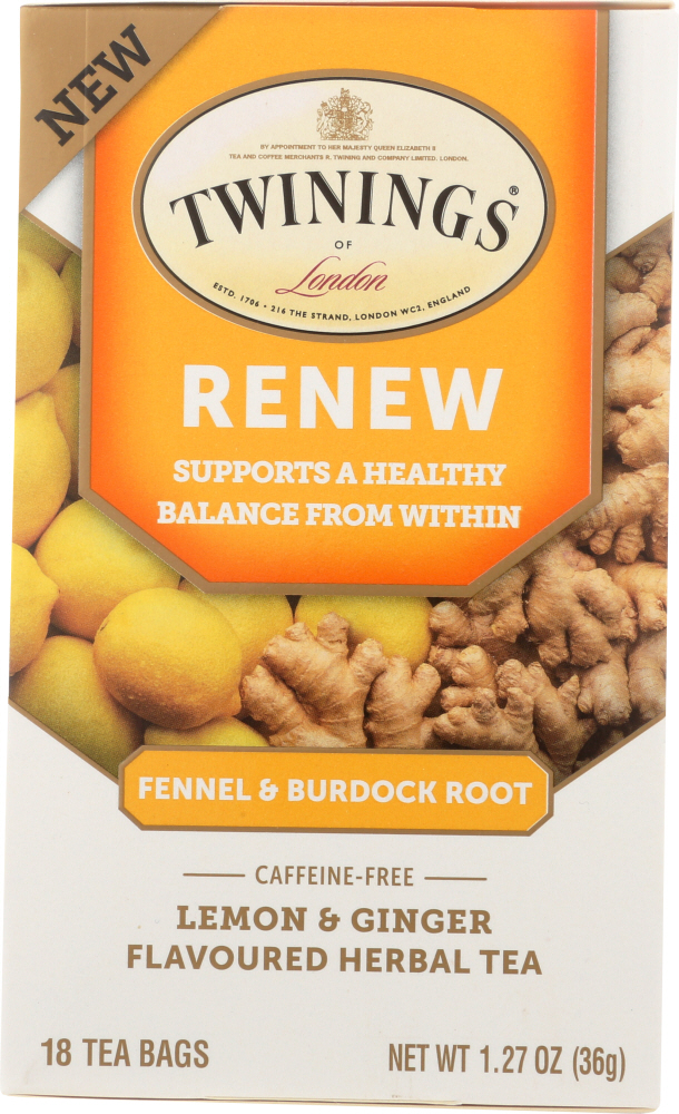 TWINING TEA: Renew Lemon & Ginger Herbal Tea, 18 bg