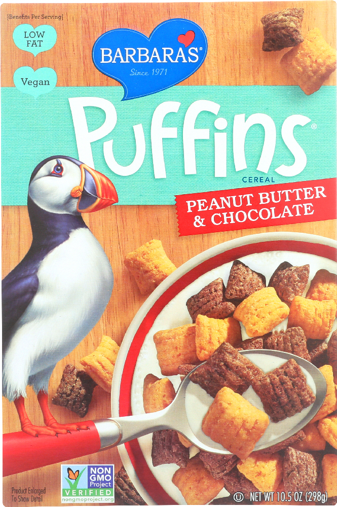BARBARA'S: Puffins Cereal Peanut Butter and Chocolate, 10.5 oz