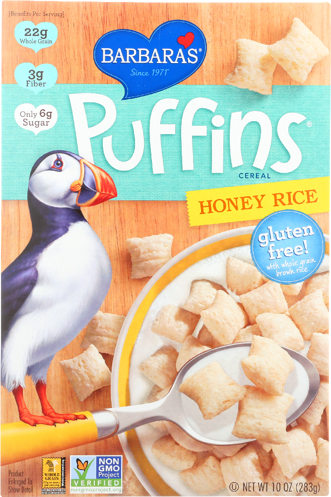 BARBARA'S BAKERY: Puffins Cereal Honey Rice, 10 oz