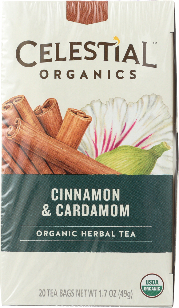 CELESTIAL SEASONINGS: Organic Herbal Tea Cinnamon & Cardamom Pack of 20, 1.7 oz