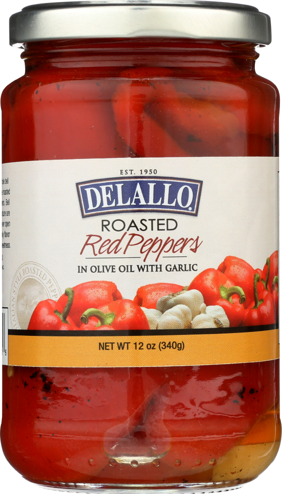 DELALLO: Roasted Red Peppers with Garlic, 12 oz