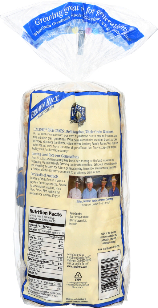 LUNDBERG: Brown Rice Rice Cakes Lightly Salted, 8.5 oz