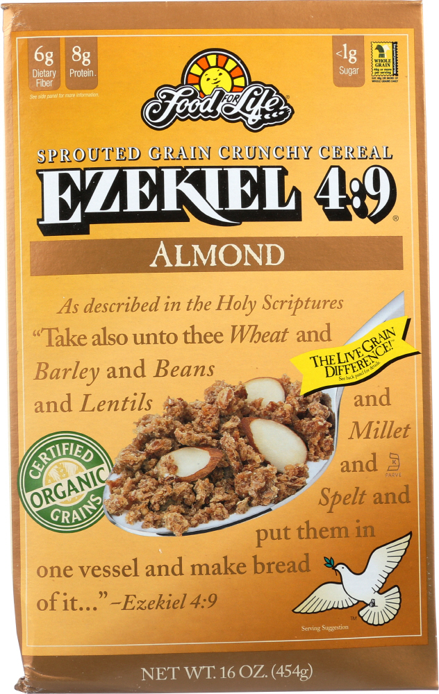 FOOD FOR LIFE: Ezekiel 4:9 Sprouted Grain Cereal Almond, 16 oz