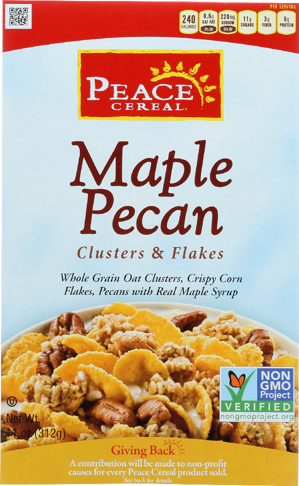 PEACE CEREAL: Clusters and Flakes Cereal Maple Pecan, 11 oz