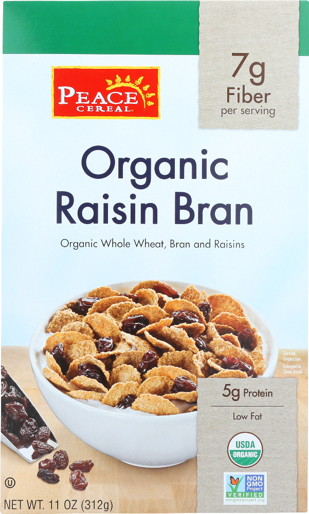 PEACE CEREAL: Cereal Raisin Bran Organic, 11 oz