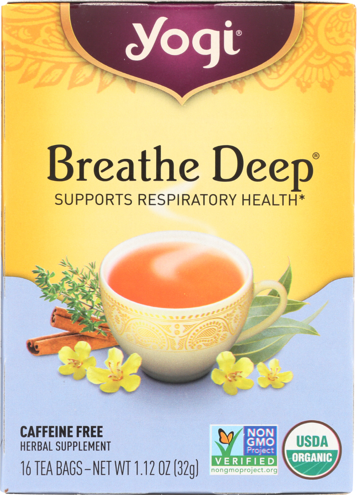 YOGI TEA: Breathe Deep Organic Respiratory Support Tea Caffeine Free, 16 Tea Bags