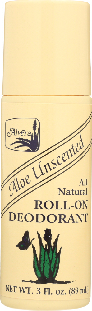 ALVERA: All Natural Roll-On Deodorant Aloe Unscented, 3 oz