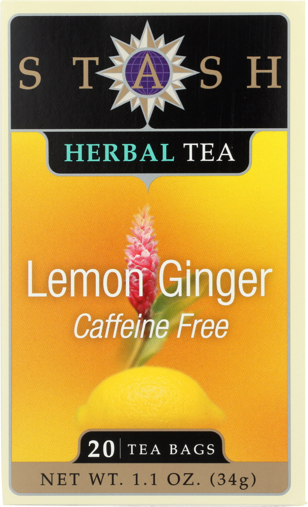 STASH TEA: Lemon Ginger Herbal Tea Caffeine Free 20 Tea Bags, 1.1 oz