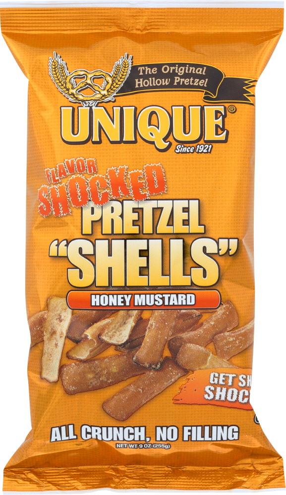 UNIQUE: Pretzel Shells Flavor Shocked Honey Mustard, 9 oz