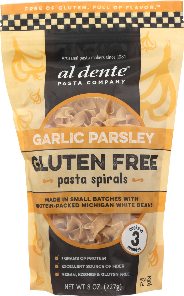 AL DENTE: Garlic Parsley Gluten Free Pasta Spirals, 8 oz