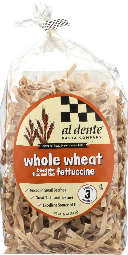 AL DENTE: Pasta Whole Wheat Fettuccine, 12 oz