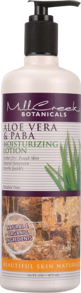 MILL CREEK: Moisturizing Lotion Aloe Vera & PABA, 16 oz