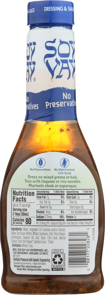 SOY VAY: Lemongrass Vinaigrette Dressing, 12 oz