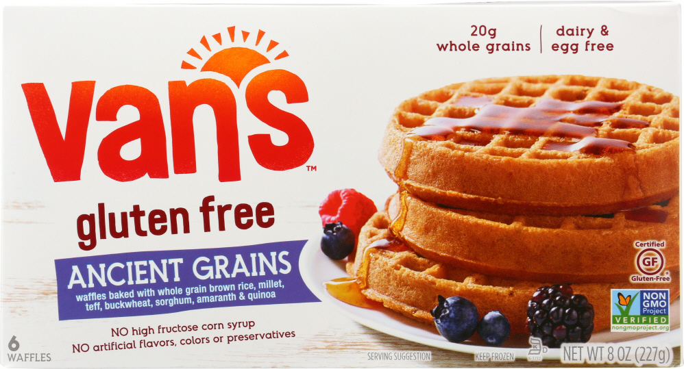 VAN'S: Natural Foods Gluten Free Ancient Grains Waffles, 8 oz