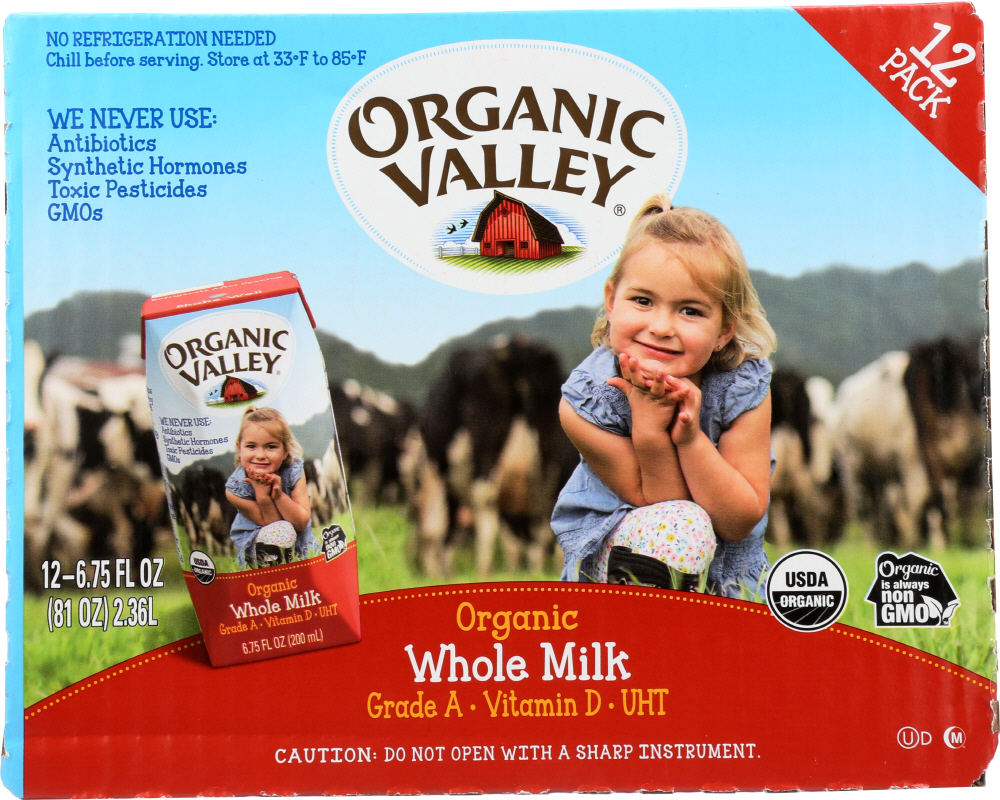 ORGANIC VALLEY: Organic Single-Serve Whole Milk 12 Pack, 81 oz