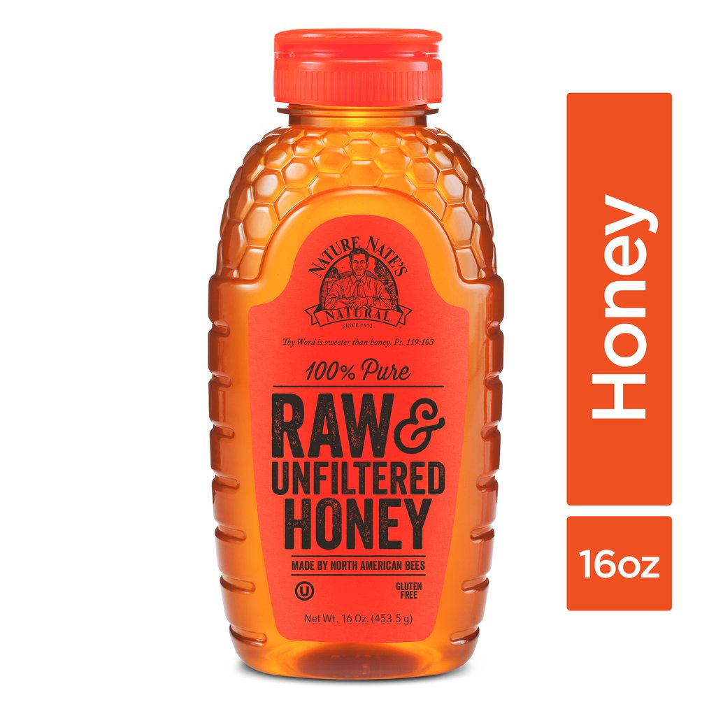 NATURE NATES: 100% Pure Raw & Unfiltered Honey, 16 oz