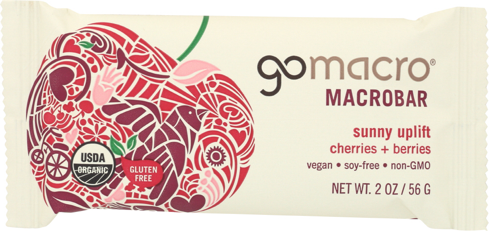GOMACRO: MacroBar Sunny Uplift Cherries + Berries, 2 oz