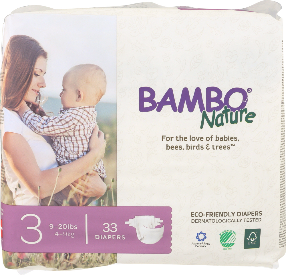 BAMBO NATURE: Diapers Baby Size 3, 33 pk
