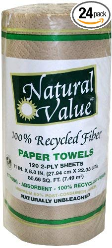 NATURAL VALUE: Paper Towel Recycle Brown 120 ct, 1 ea