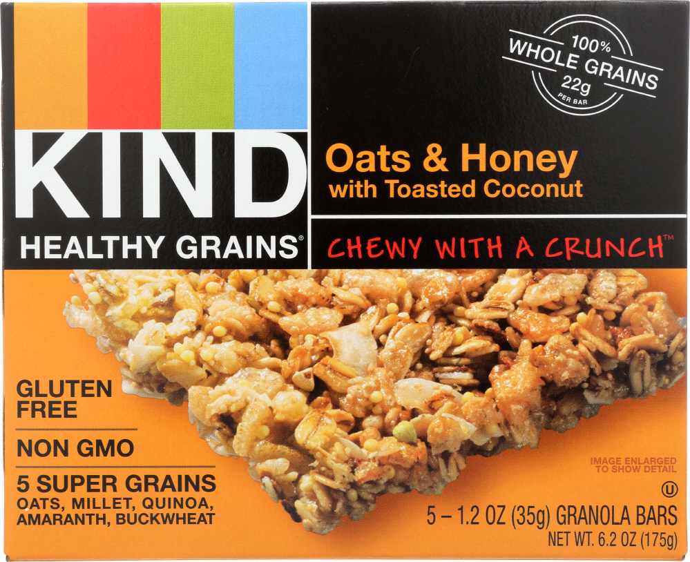 KIND: Healthy Grains Granola Bars Oats and Honey with Toasted Coconut 5 Count, 6.2 oz
