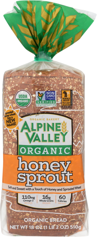 ALPINE VALLEY: Bread Sprouted Honey Wheat with Flaxseed, 18 oz