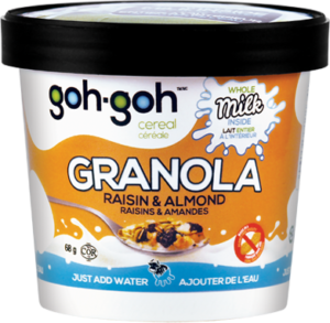 GOH GOH CEREAL: Cereal Cups Raisin and Almond, 68 gm
