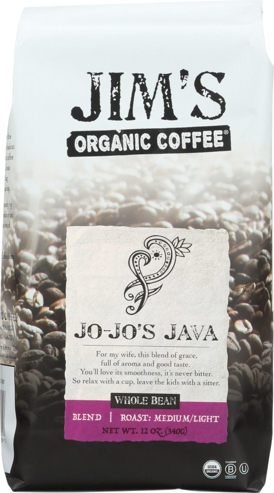 JIMS ORGANIC COFFEE: Organic JoJos Java Coffee Whole Bean Coffee, 12 oz