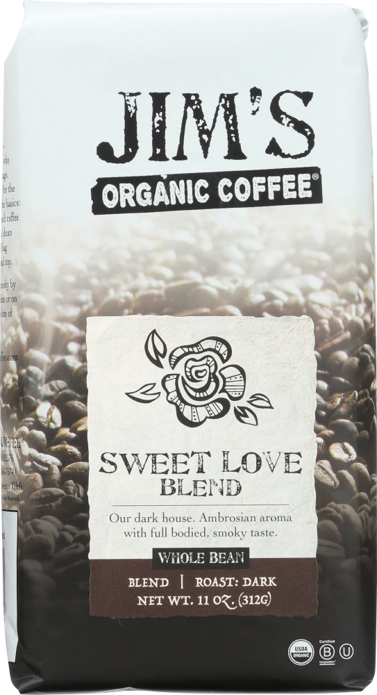 JIM'S ORGANIC COFFEE: Whole Bean Sweet Love Blend, 12 oz