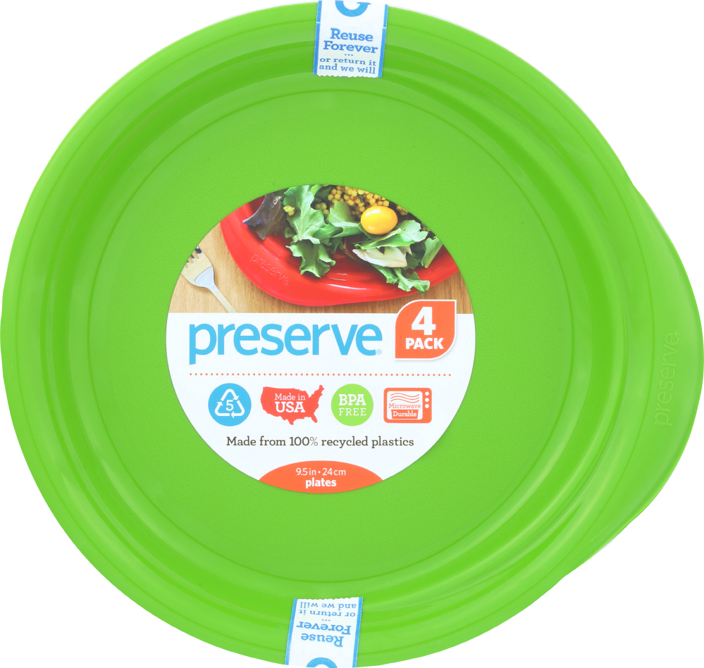 PRESERVE: Apple Green Plate 9.5 Inches, 4 pc