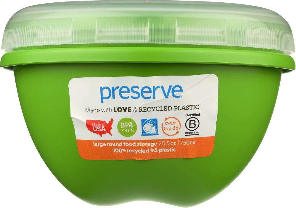 PRESERVE: Apple Green Food Storage Container Large, 25.5 oz, 1 ea