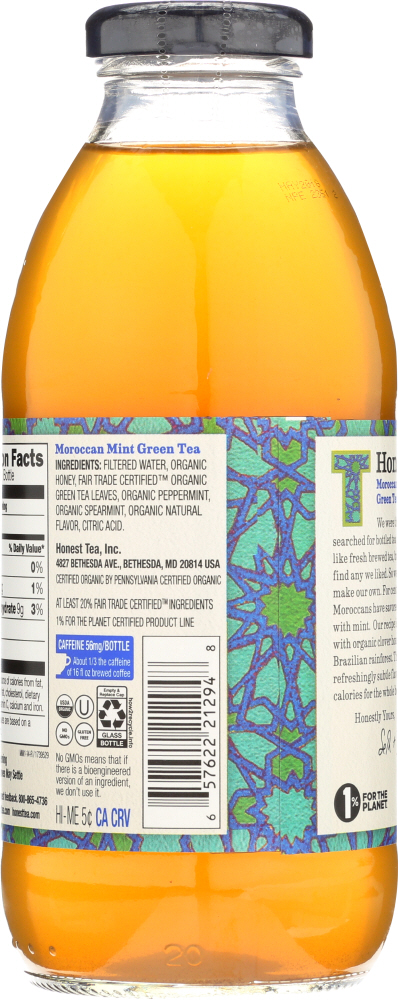 HONEST TEA: Organic Green Tea Moroccan Mint, 16 oz