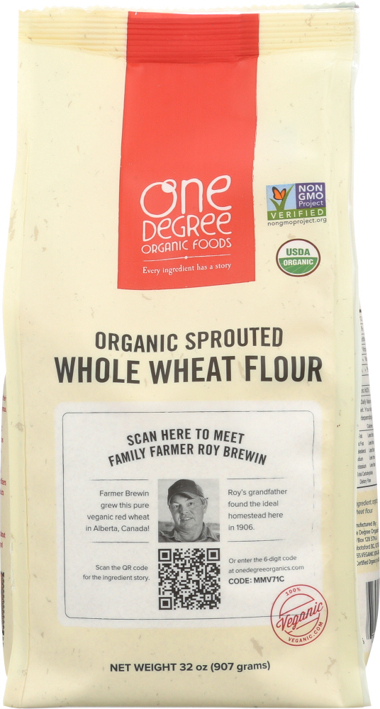 ONE DEGREE: Flour Whole Wheat Sprouted Organic, 32 oz