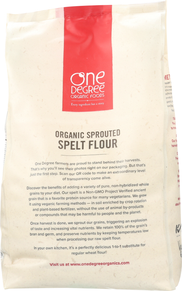 ONE DEGREE: Organic Sprouted Spelt Flour, 80 Oz