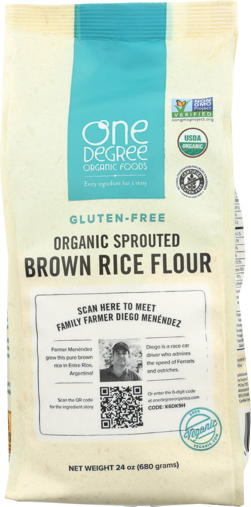 ONE DEGREE: Flour Brown Rice Sprouted Organic, 24 oz
