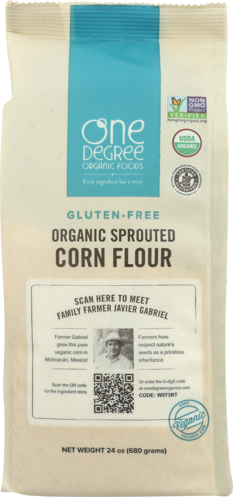 ONE DEGREE: Flour Corn Sprouted Organic, 24 oz