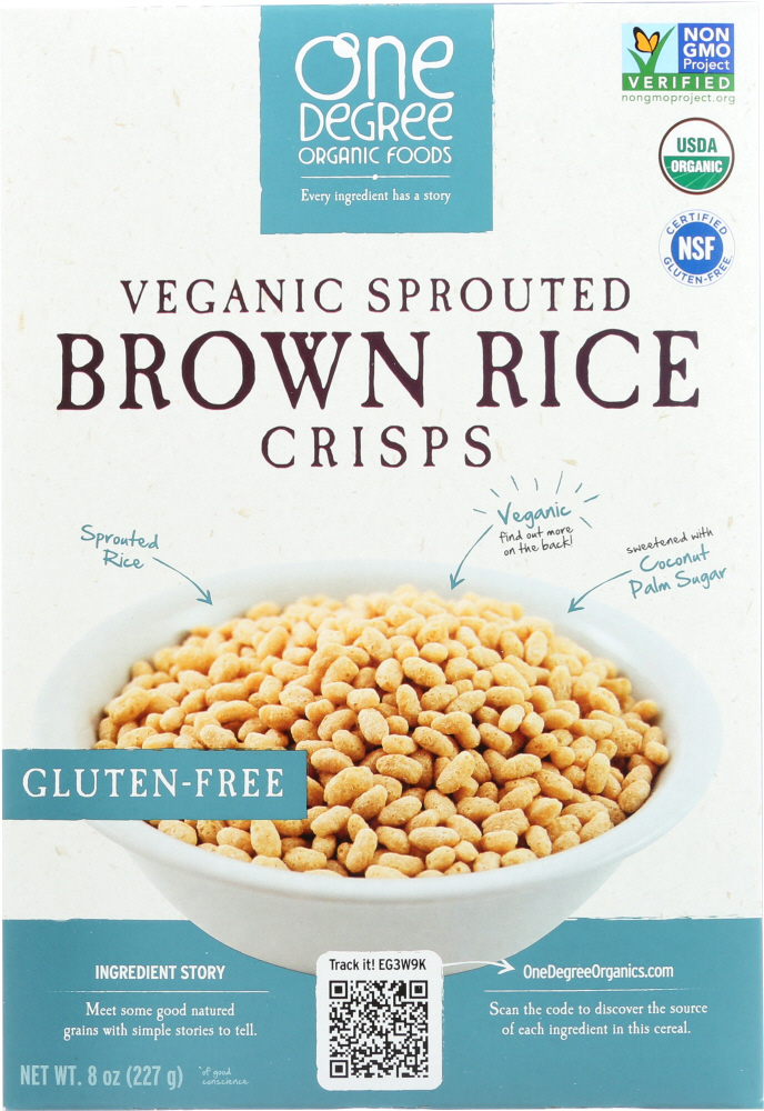 ONE DEGREE ORGANIC FOODS: Veganic Sprouted Brown Rice Crisps Cereal, 8 oz