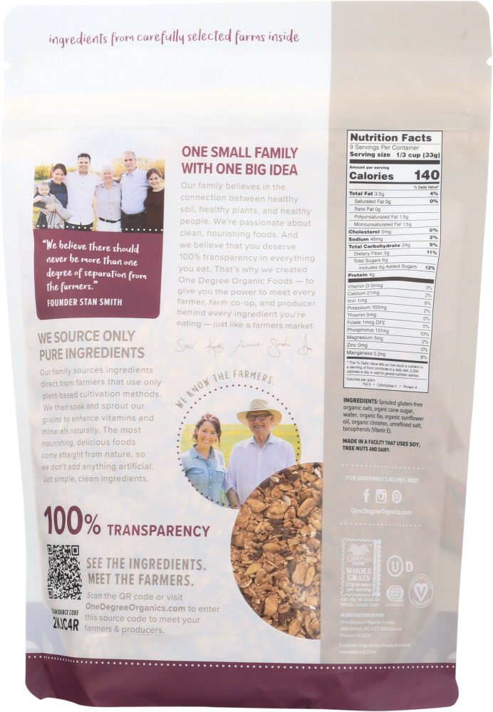 ONE DEGREE: Granola Flax Cinnamon Sprouted, 11 oz