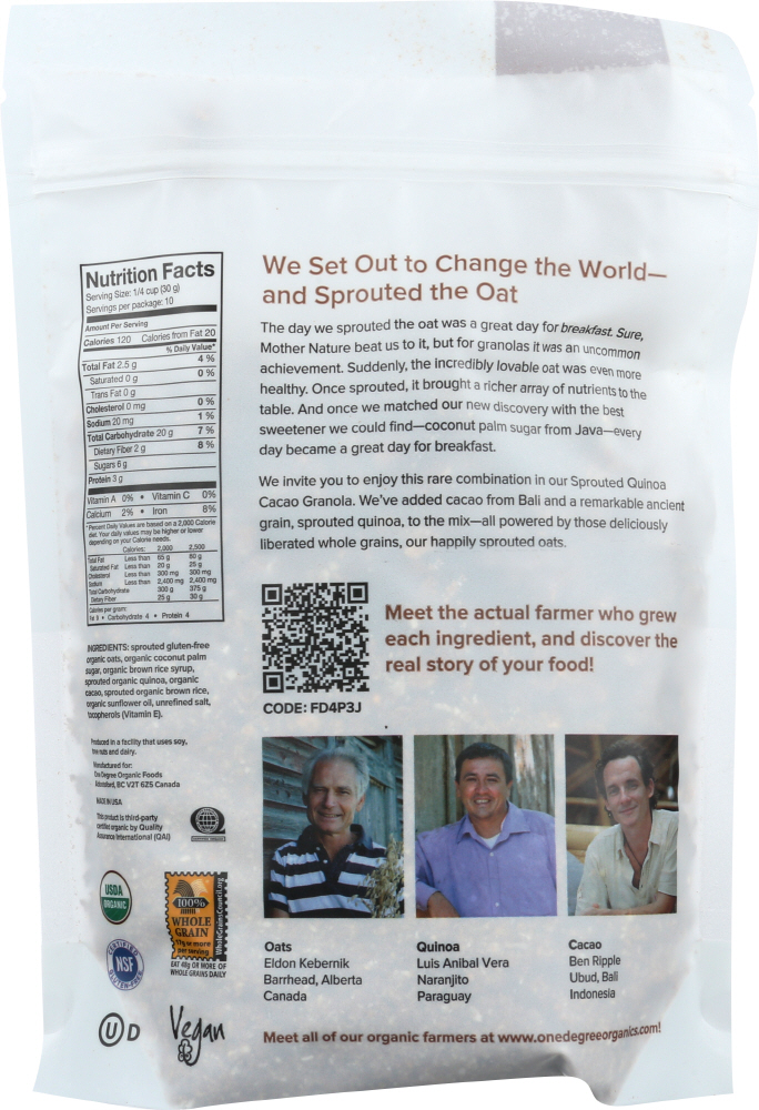 ONE DEGREE: Sprouted Oat Granola Quinoa Cacao, 11 oz