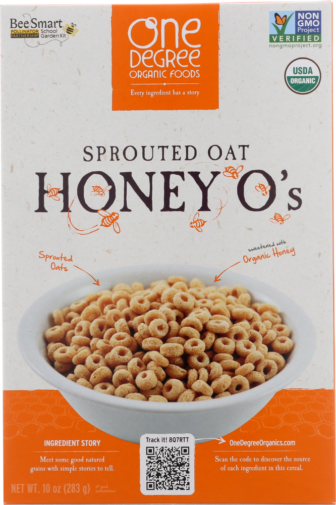 ONE DEGREE: Organic Sprouted Oat Honey O's Cereal, 10 oz