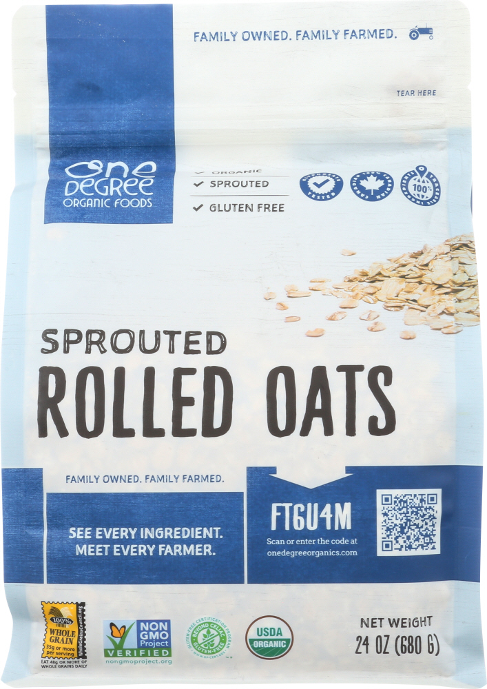 ONE DEGREE: Sprouted Rolled Oats, 24 oz