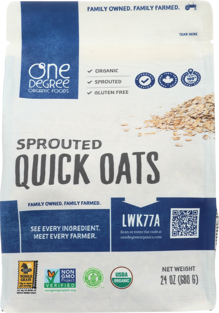 ONE DEGREE: Sprouted Quick Oats, 24 oz