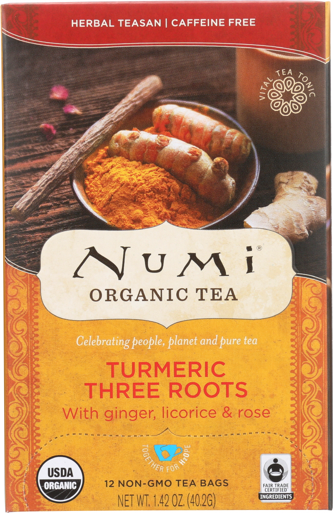 NUMI TEAS: Organic Turmeric Tea Three Roots, 12 Tea Bags