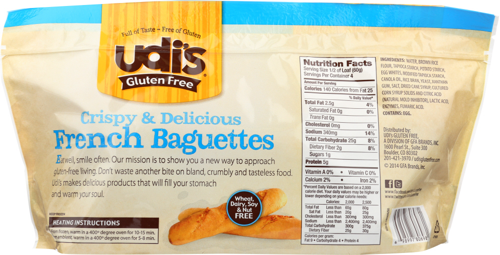 UDIS: Gluten Free French Baguettes, Dairy Soy & Nut Free 2 Counts, 8.4 oz