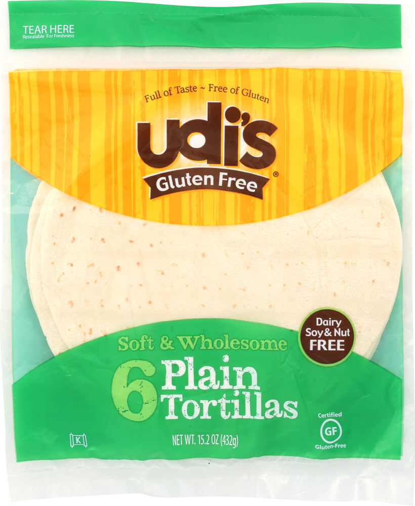 UDI'S: Plain Tortilla Large Gluten Free, Dairy Soy & Nut Free, 6 Counts, 11.2 oz